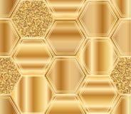 Hexagon big golden glitter seamless pattern Royalty Free Stock Photos