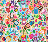 Hexagon Big Owl Tree Love Star Seamless Pattern Stock Photography