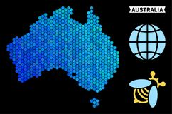 Blue Hexagon Australia Map. Hexagon Blue Australia map. Geographic map in blue color tints on a black background. Vector composition of Australia map organized royalty free illustration