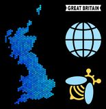 Blue Hexagon Great Britain Map. Hexagon Blue Great Britain map. Geographic map in blue color hues on a black background. Vector concept of Great Britain map royalty free illustration