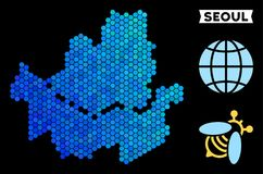 Blue Hexagon Seoul City Map. Hexagon Blue Seoul city map. Geographic map in blue color variations on a black background. Vector pattern of Seoul city map Royalty Free Illustration