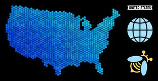 Blue Hexagon USA Map. Hexagon Blue USA map. Geographic map in blue color tones on a black background. Vector pattern of USA map composed of hexagon dots Vector Illustration
