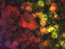 Hexagon bokehachtergrond. Royalty-vrije Stock Afbeeldingen