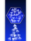 Hexagon border with ice cubes over dark blue panel Stock Photo