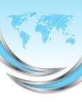 Hexagon brochure design with world map Stock Photos