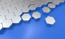 Hexagon building blocks chrome on blue. 3d Illustration hexagon brick concept Stock Photos