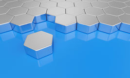 Hexagon building blocks chrome on blue 2. 3d Illustration hexagon brick concept Stock Photography