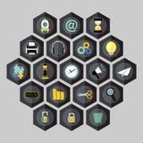 Hexagon business icons Stock Image