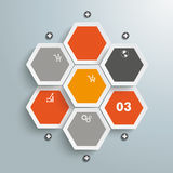 Hexagon Business Infographic 7 Options. Infographic with honeycomb structure on the grey background. Eps 10  file Stock Image