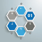 Hexagon Business Infographic PiAd. Infographic with honeycomb structure on the grey background. Eps 10  file Royalty Free Stock Photos