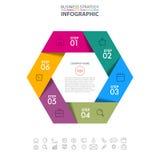 Hexagon Business Infographics strategy design elements Stock Photos