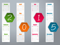 2015 hexagon calendar design for year 2015. Hexagon label calendar design for year 2015 Stock Images