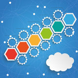 Hexagon Chart Growth Gears Cloud Blue Sky. Infographic with hexagons and gears on the blue background Stock Image