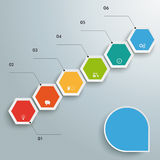 Hexagon Chart Growth. Infographic with hexagons on the grey background Royalty Free Stock Photos
