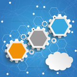 Hexagon Chart Growth 3 Options Gears Cloud Blue Sky. Infographic with hexagons and gears on the blue background Stock Photos