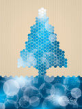 Hexagon christmas greeting with striped background Stock Images