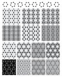 Hexagon circle symmetry set black seamless pattern Royalty Free Stock Image