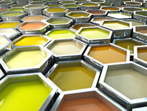 Hexagon color paint Stock Images