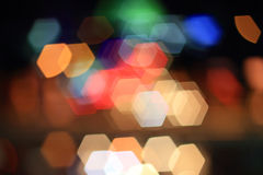 Hexagon. Colorful bokeh hexagon shape ,city  at night Royalty Free Stock Image
