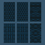 Hexagon combine set seamless pattern. This illustration is design abstract Hexagon combine style with line in set and seamless pattern in blue theme Royalty Free Stock Photo