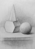 Hexagon, cone, and circle  Stock Image