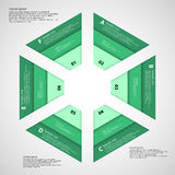 Hexagon consist of three green ribbons Stock Photos