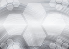 Hexagon and curves gray abstract vector background.  Stock Photo