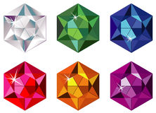 Hexagon cut precious stones with sparkle. Illustration of hexagon cut precious stones with sparkle isolated on white Royalty Free Stock Images