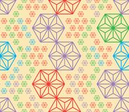 Hexagon cut triangle colors disturb symmetry seamless pattern. This illustration is design hexagon with abstract colors disturb the symmetry in seamless pattern Stock Images