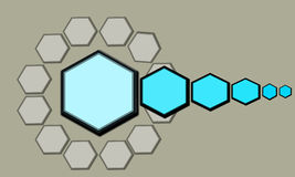 Hexagon. Drawing hexagon abstract background blue color Stock Photos