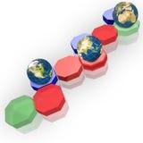 Hexagon and Earth globe Stock Image