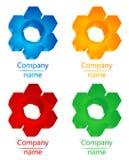Draai hexagon embleem Stock Afbeeldingen