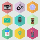 Hexagon flat icon design vector illustrator. Hexagon flat icon internet design vector illustrator Stock Photo