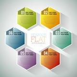 Hexagon Flat Infographic. Vector illustration of hexagon hex flat infographic element royalty free illustration
