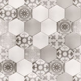 Hexagon floor with Provence pattern texture Stock Photo