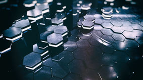 Hexagon Floor. Unique and high tech looking science fiction concept of glowing hexagon floor with reflections, details and shallow depth of field stock illustration