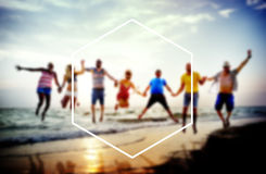 Hexagon Frame Holiday Summer Vacation Copy Space Concept Stock Photos