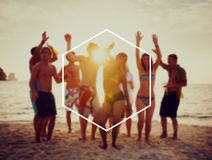 Hexagon Frame Holiday Summer Vacation Copy Space Concept Royalty Free Stock Image