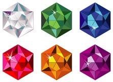 Hexagon geschnittene kostbare Steine mit Schein Lizenzfreie Stockbilder