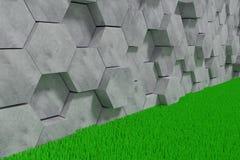 Hexagon Gevormde Beton blokkeert Muurachtergrond De mening van het perspectief 3D Illustratie royalty-vrije illustratie