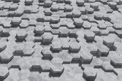 Hexagon Gevormde Beton blokkeert Muurachtergrond De mening van het perspectief 3D Illustratie stock illustratie