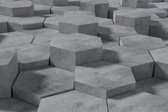 Hexagon Gevormde Beton blokkeert Muurachtergrond De mening van het perspectief 3D Illustratie vector illustratie
