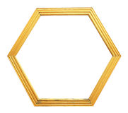 Hexagon golden frame Royalty Free Stock Photos