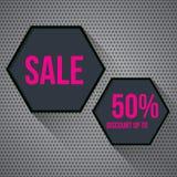 Hexagon gray banner on a gray techno background. Flat design. Vector. Illustration vector illustration