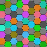 Hexagon grid seamless vector background. Stylized polygons six corners geometric design. Trendy colors hexagon cells pattern for g. Ame ui. Hexagonal shapes Royalty Free Illustration