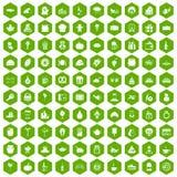 100 hexagon groen van gulle giftpictogrammen Royalty-vrije Stock Foto