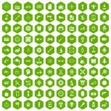 100 hexagon groen van toestelpictogrammen Stock Foto's