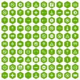100 hexagon groen van verkeerstekenpictogrammen vector illustratie
