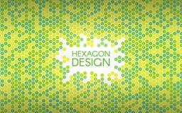 Hexagon Groene Achtergrond Kleurrijke mozaïekvormen Geometrisch creatief concept Kleuren abstracte achtergrond Vector Royalty-vrije Stock Afbeeldingen