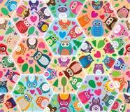 Hexagon grote van de de liefdester van de uilboom naadloze patroon stock illustratie
